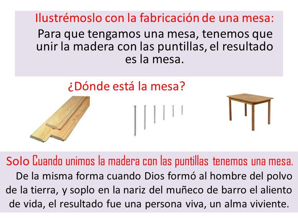 Ilustrémoslo con la fabricación de una mesa: