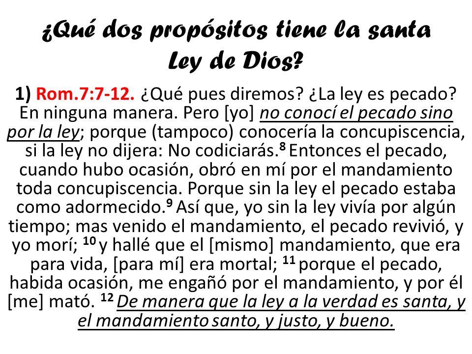¿Qué dos propósitos tiene la santa Ley de Dios