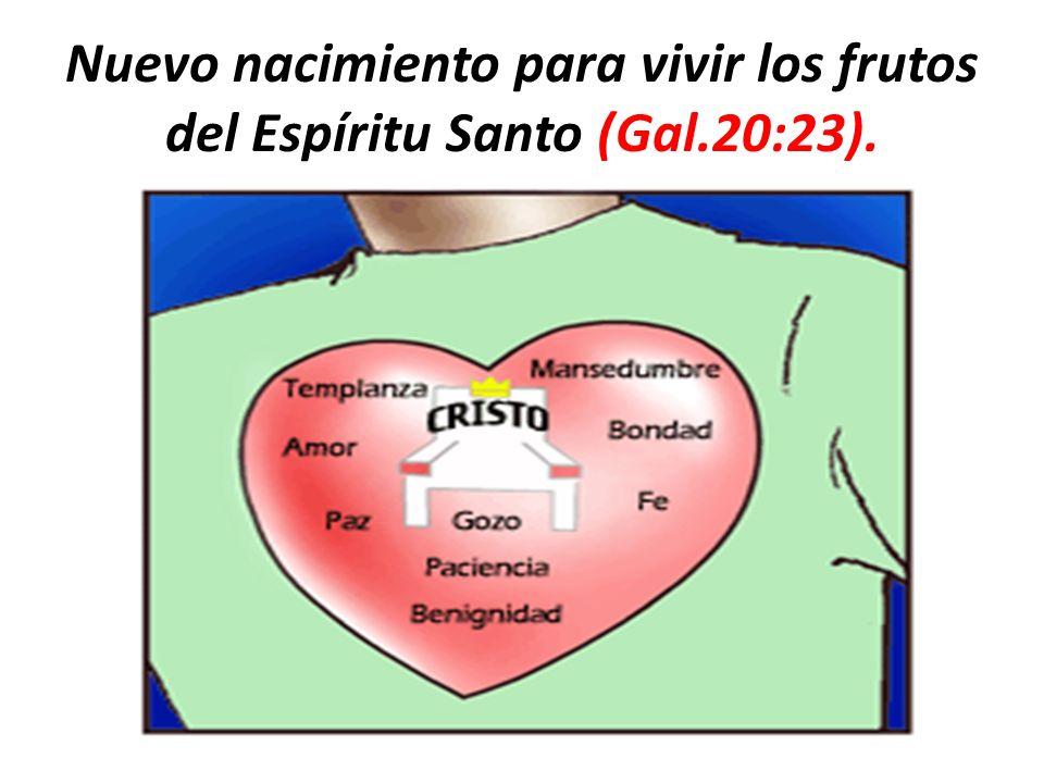 Nuevo nacimiento para vivir los frutos del Espíritu Santo (Gal.20:23).
