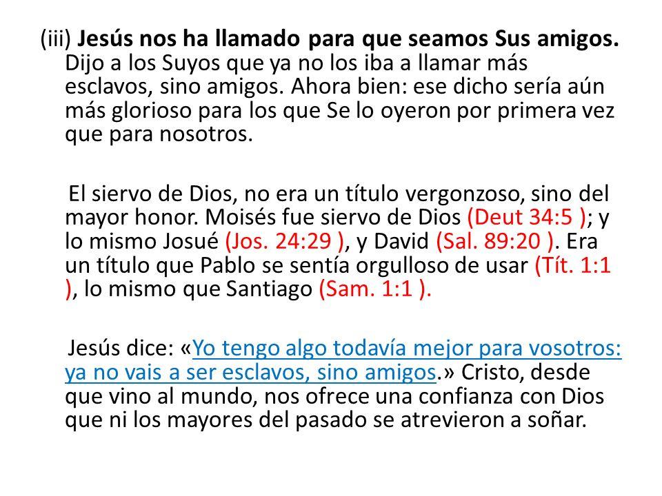 (iii) Jesús nos ha llamado para que seamos Sus amigos