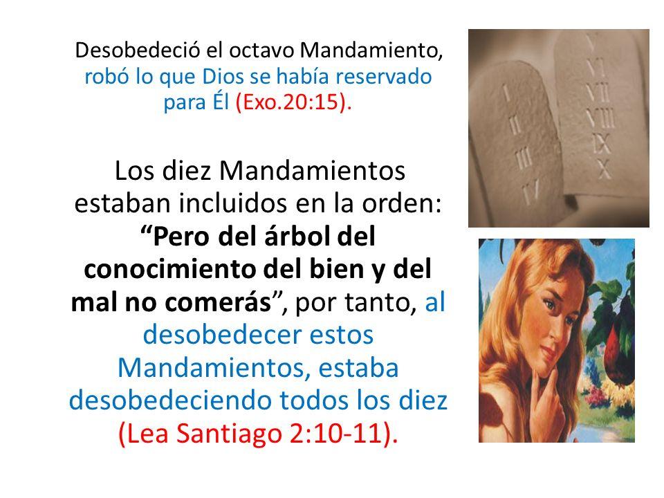 Desobedeció el octavo Mandamiento, robó lo que Dios se había reservado para Él (Exo.20:15).