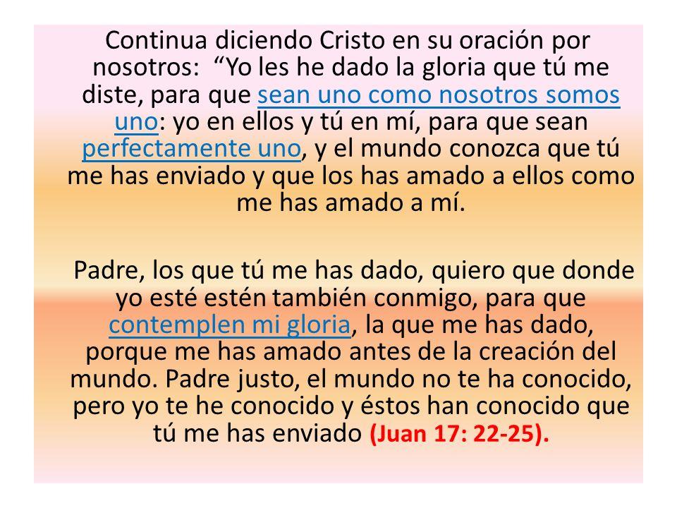 Continua diciendo Cristo en su oración por nosotros: Yo les he dado la gloria que tú me diste, para que sean uno como nosotros somos uno: yo en ellos y tú en mí, para que sean perfectamente uno, y el mundo conozca que tú me has enviado y que los has amado a ellos como me has amado a mí.