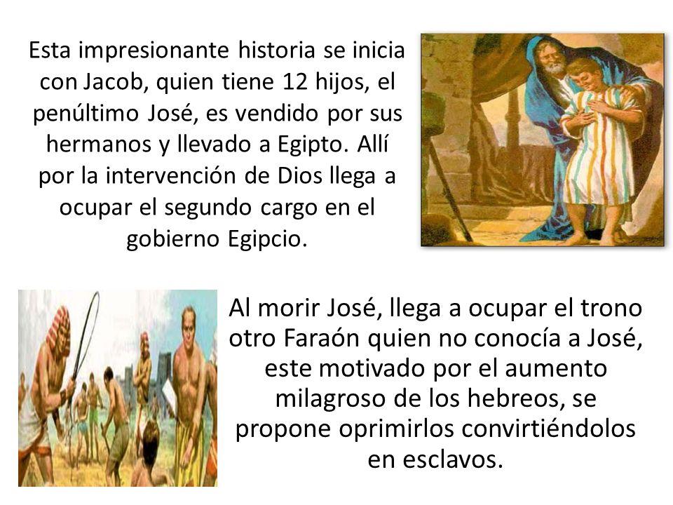 Esta impresionante historia se inicia con Jacob, quien tiene 12 hijos, el penúltimo José, es vendido por sus hermanos y llevado a Egipto. Allí por la intervención de Dios llega a ocupar el segundo cargo en el gobierno Egipcio.