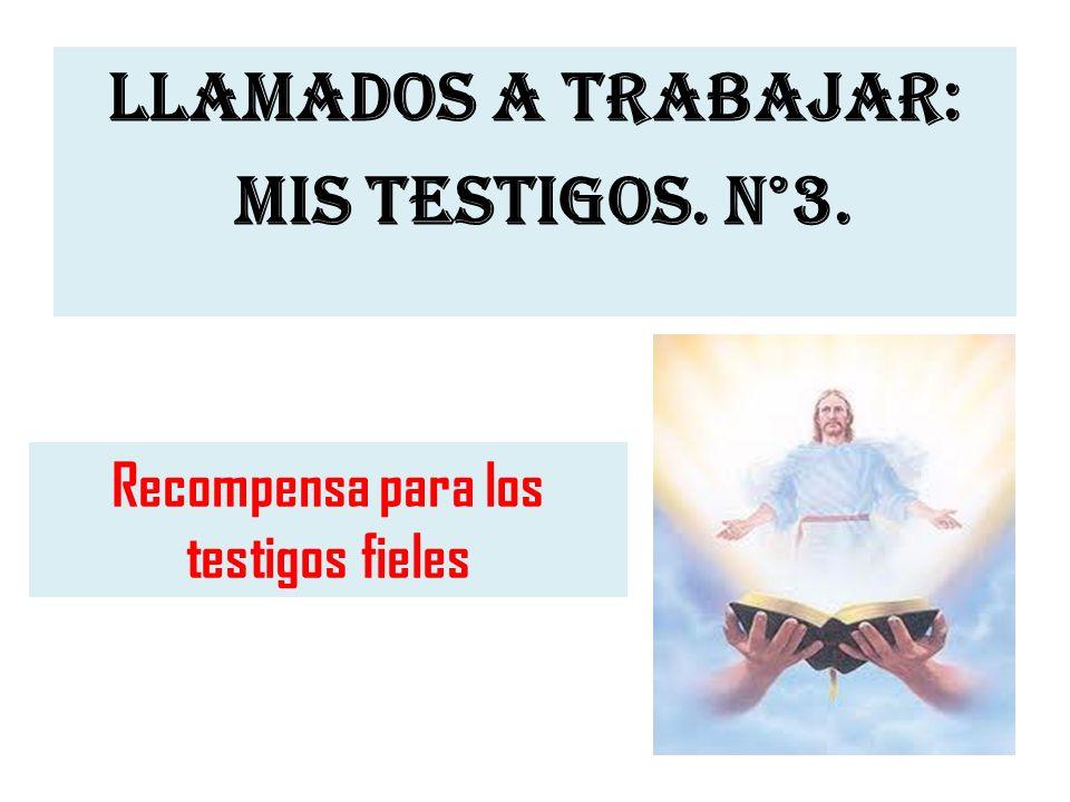 LLAMADOS A TRABAJAR: MIS TESTIGOS. N°3.