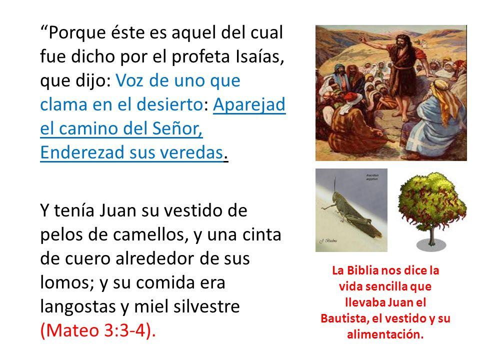 Porque éste es aquel del cual fue dicho por el profeta Isaías, que dijo: Voz de uno que clama en el desierto: Aparejad el camino del Señor, Enderezad sus veredas.