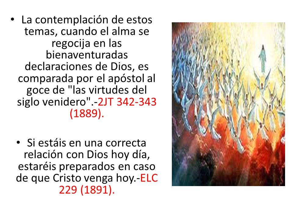 La contemplación de estos temas, cuando el alma se regocija en las bienaventuradas declaraciones de Dios, es comparada por el apóstol al goce de las virtudes del siglo venidero .-2JT 342-343 (1889).