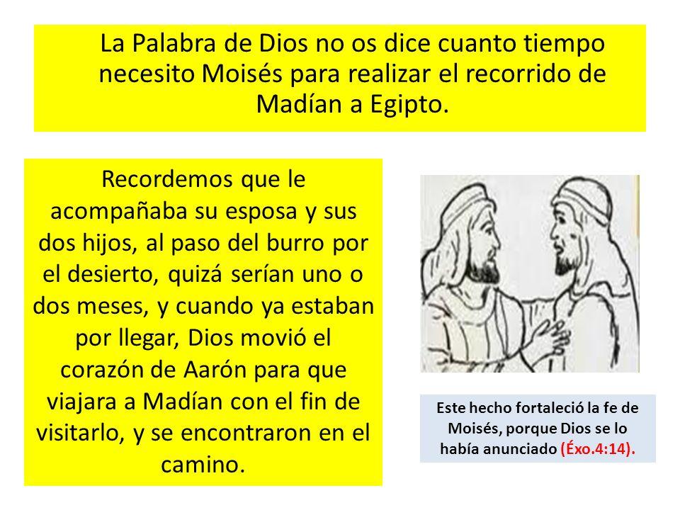 La Palabra de Dios no os dice cuanto tiempo necesito Moisés para realizar el recorrido de Madían a Egipto.