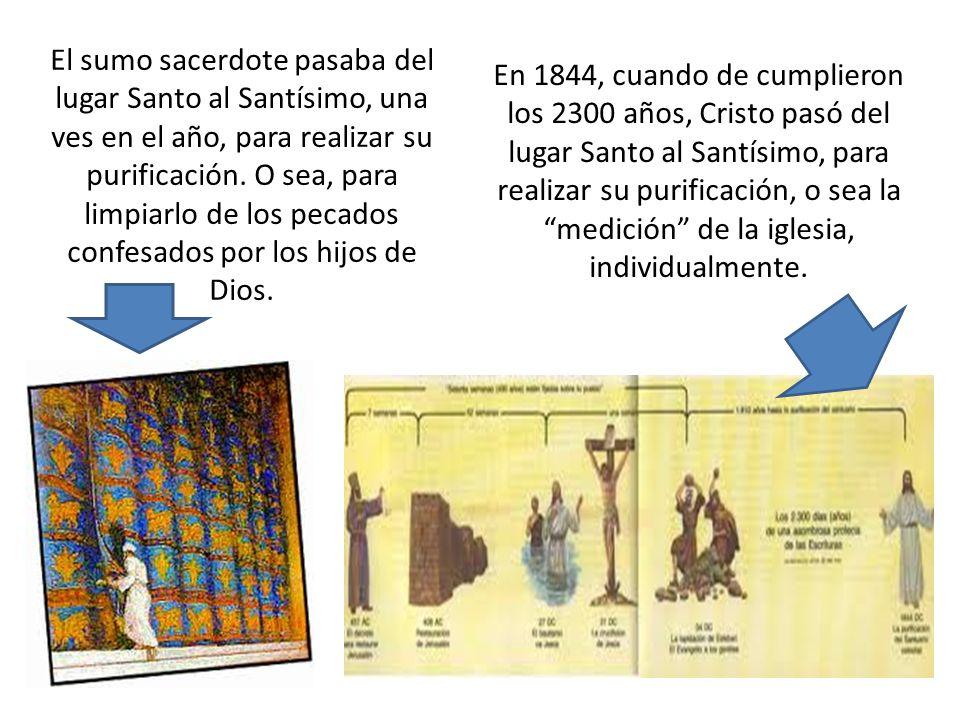 El sumo sacerdote pasaba del lugar Santo al Santísimo, una ves en el año, para realizar su purificación. O sea, para limpiarlo de los pecados confesados por los hijos de Dios.