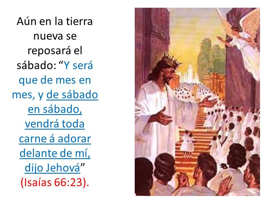 Aún en la tierra nueva se reposará el sábado: Y será que de mes en mes, y de sábado en sábado, vendrá toda carne á adorar delante de mí, dijo Jehová (Isaías 66:23).