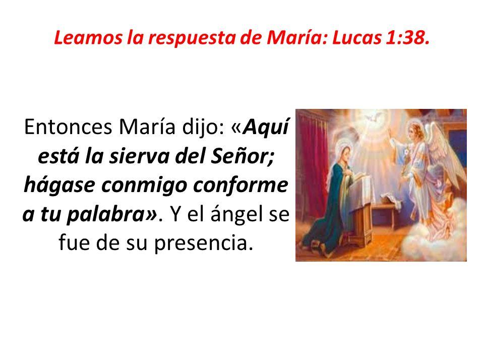 Leamos la respuesta de María: Lucas 1:38.