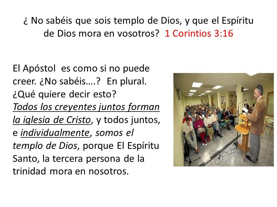¿ No sabéis que sois templo de Dios, y que el Espíritu de Dios mora en vosotros 1 Corintios 3:16