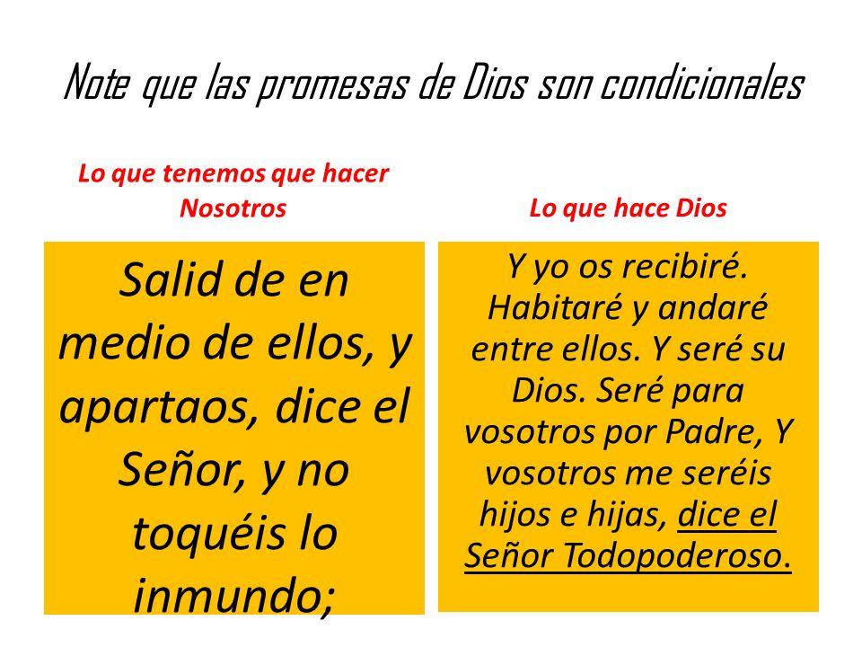 Note que las promesas de Dios son condicionales