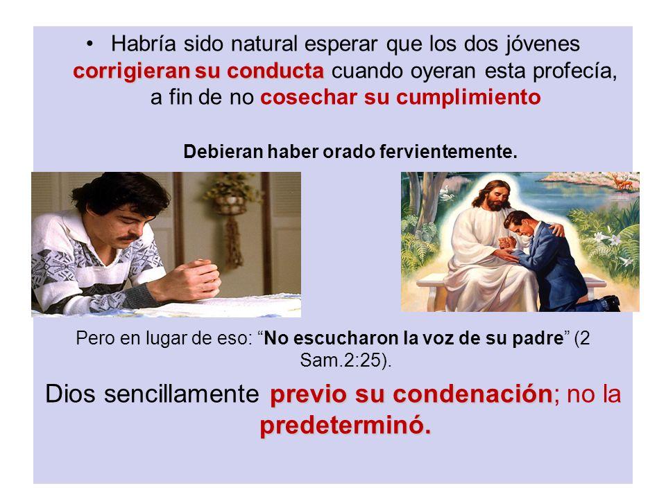 Dios sencillamente previo su condenación; no la predeterminó.