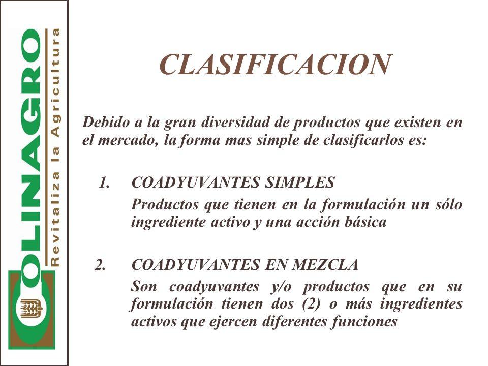CLASIFICACION Debido a la gran diversidad de productos que existen en el mercado, la forma mas simple de clasificarlos es: