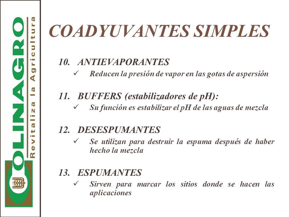 COADYUVANTES SIMPLES 10. ANTIEVAPORANTES
