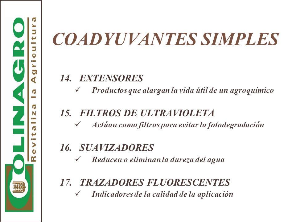 COADYUVANTES SIMPLES 14. EXTENSORES 15. FILTROS DE ULTRAVIOLETA
