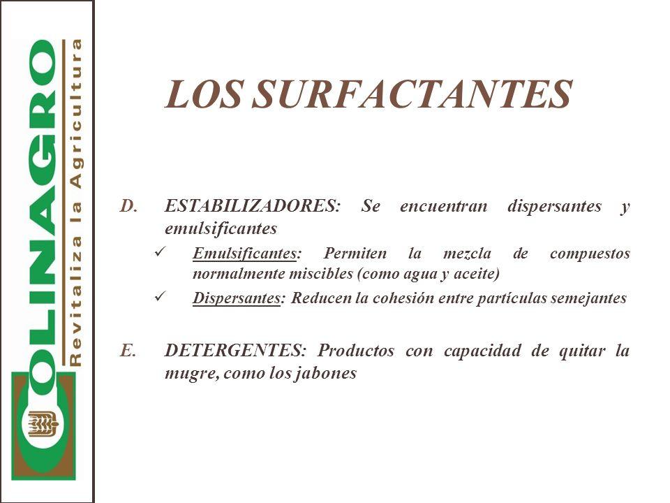 LOS SURFACTANTES ESTABILIZADORES: Se encuentran dispersantes y emulsificantes.