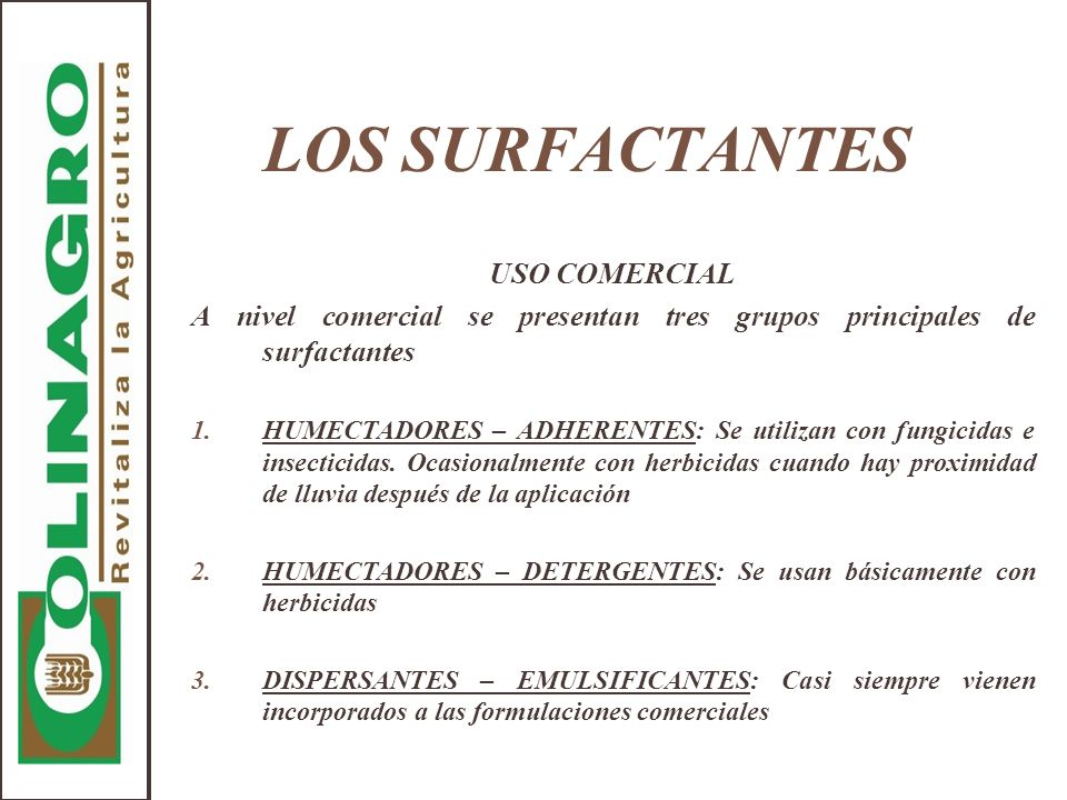 LOS SURFACTANTES USO COMERCIAL