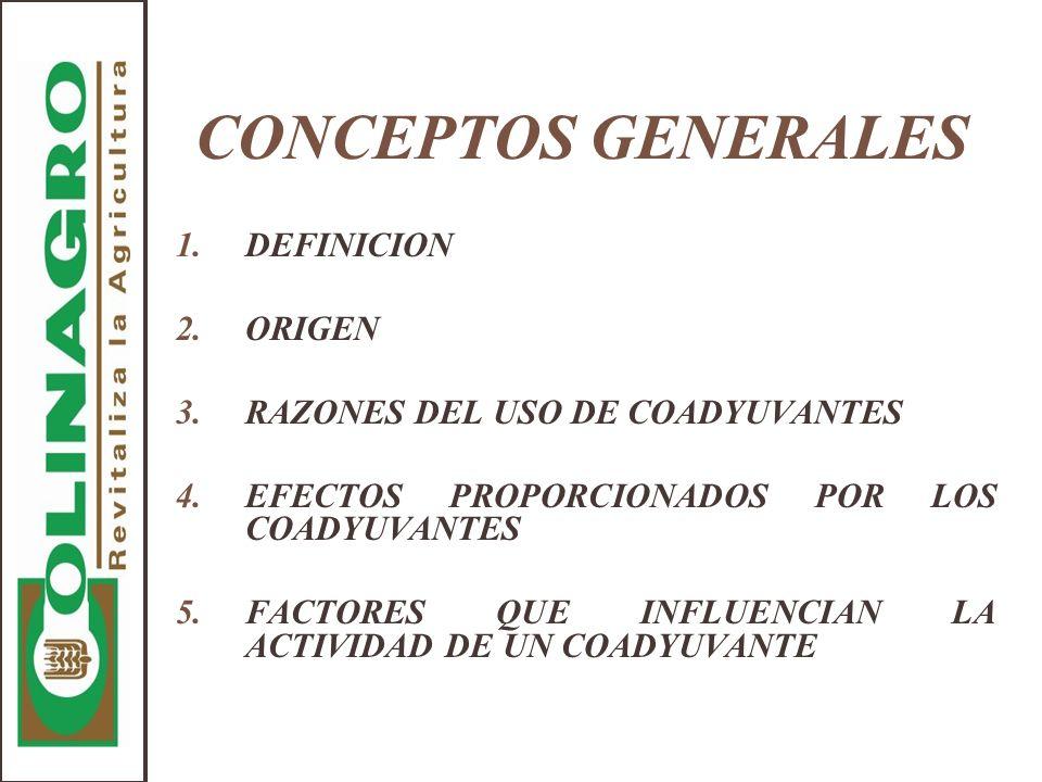 CONCEPTOS GENERALES DEFINICION ORIGEN RAZONES DEL USO DE COADYUVANTES