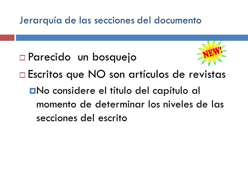 Jerarquía de las secciones del documento