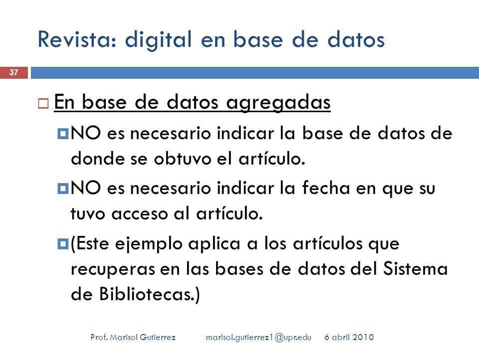 Revista: digital en base de datos