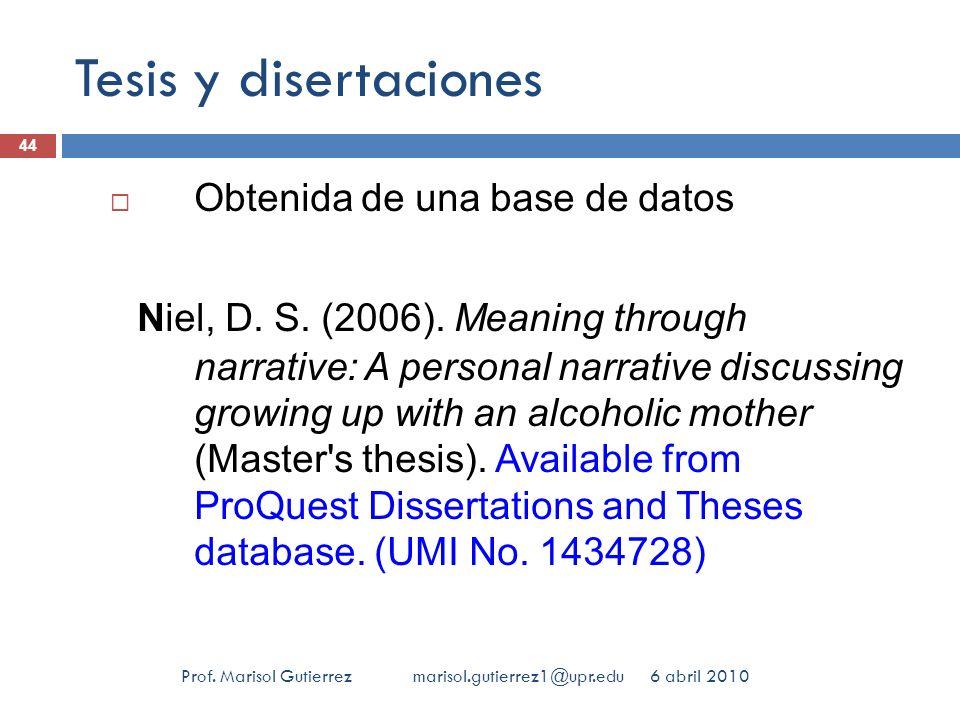 Tesis y disertaciones Obtenida de una base de datos.