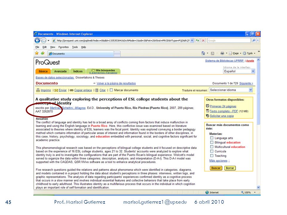 proquest umi dissertation database Search instructions the fastest way to identify and validate a dissertation is to enter the proquest publication number if you don't have this, enter a word or phrase into the search terms field or the author's last name and the first four words of the dissertation title.