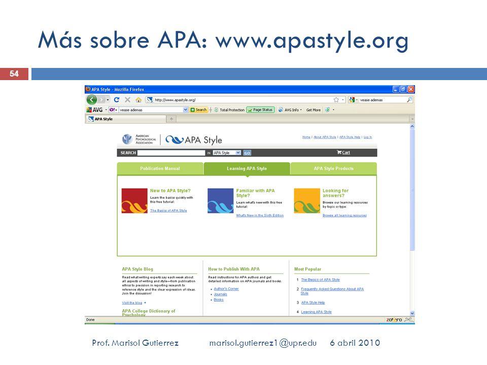 Más sobre APA: www.apastyle.org