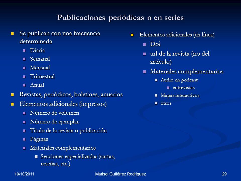 Publicaciones periódicas o en series