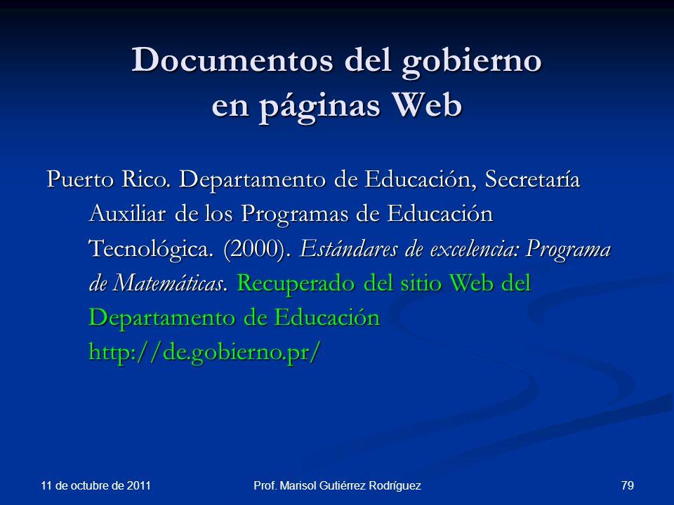 Documentos del gobierno en páginas Web