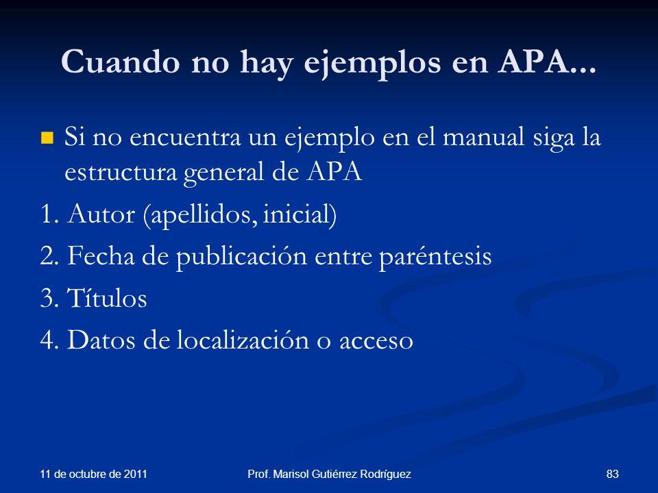 Cuando no hay ejemplos en APA...