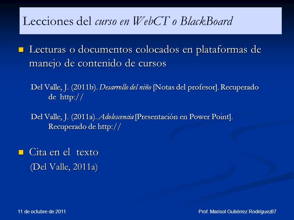 Lecciones del curso en WebCT o BlackBoard