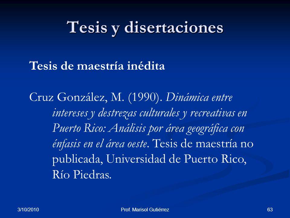 Prof. Marisol Gutiérrez