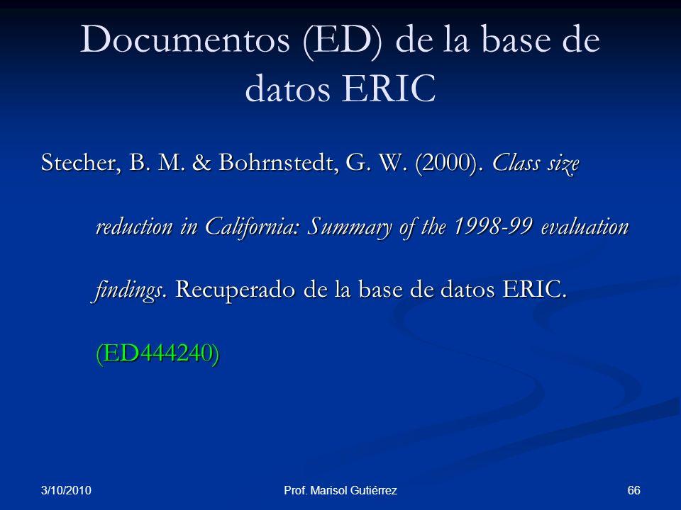 Documentos (ED) de la base de datos ERIC