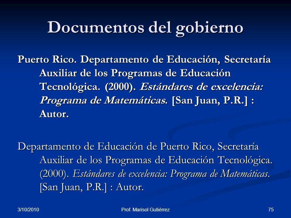 Documentos del gobierno