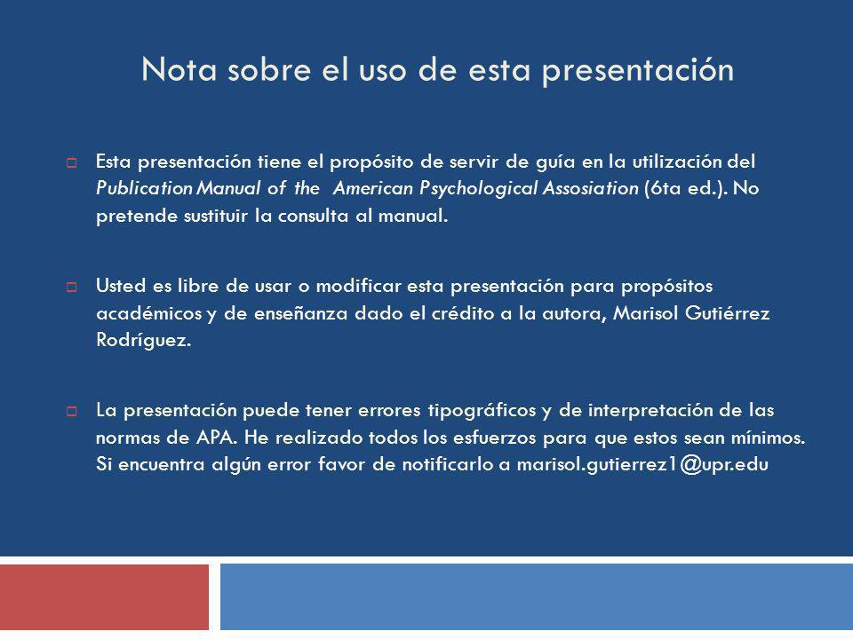 Nota sobre el uso de esta presentación