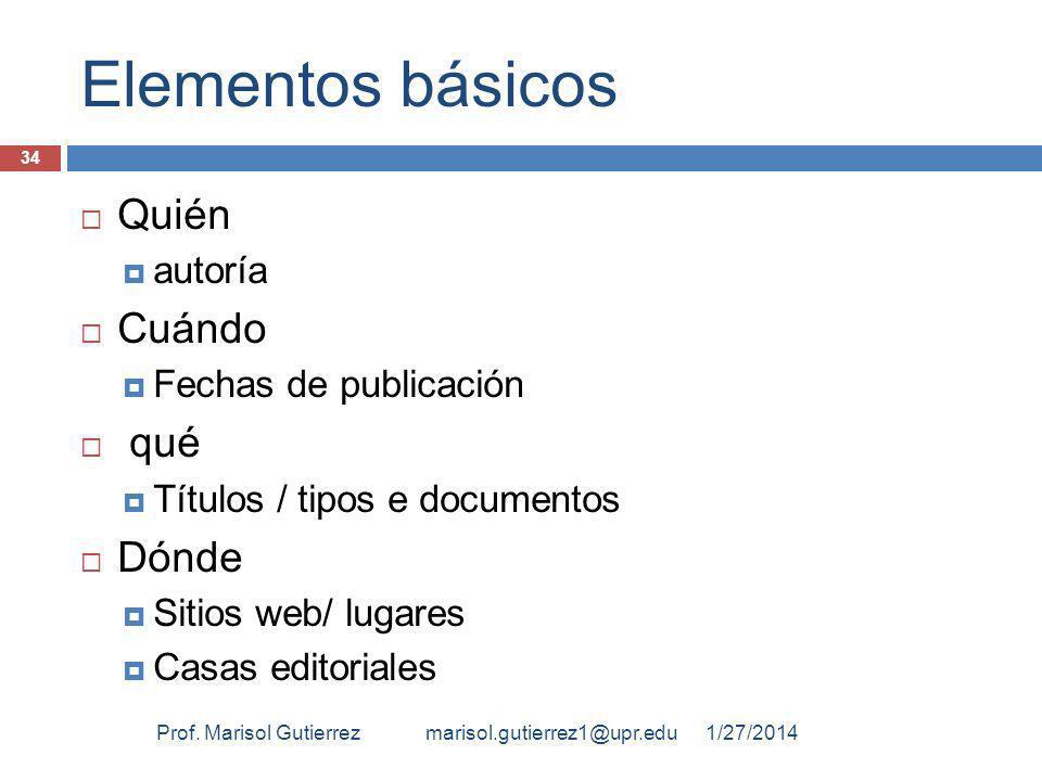 Elementos básicos Quién Cuándo qué Dónde autoría Fechas de publicación