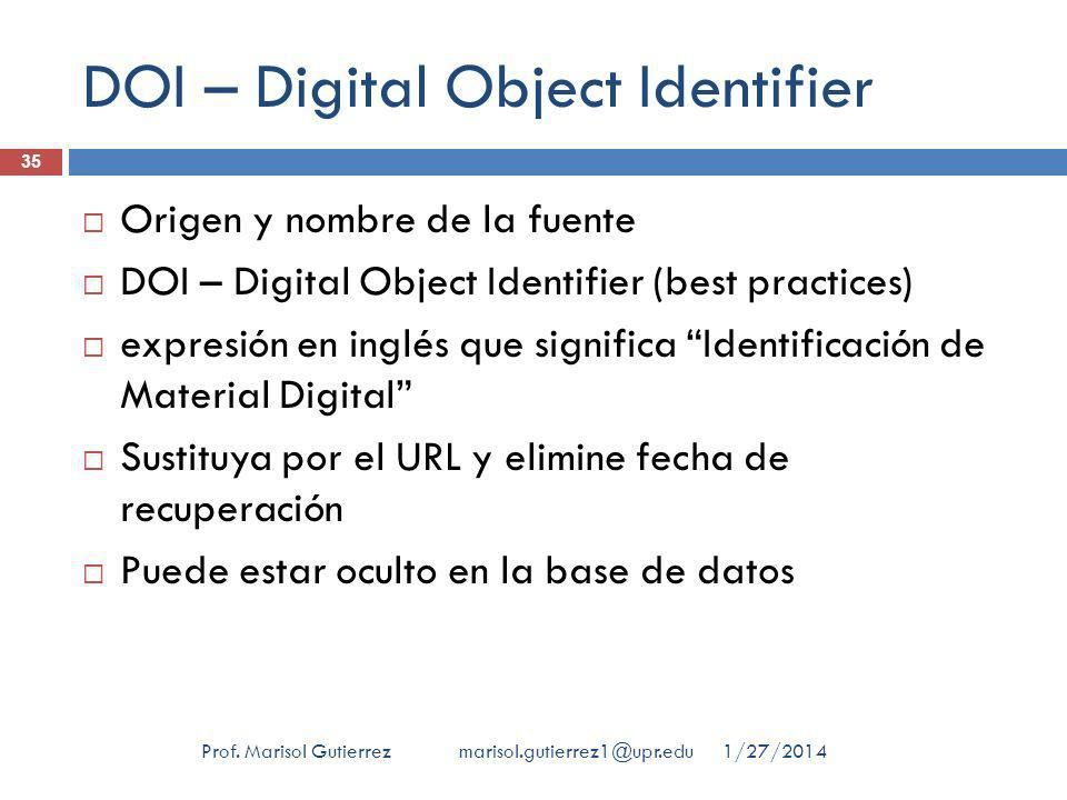 DOI – Digital Object Identifier