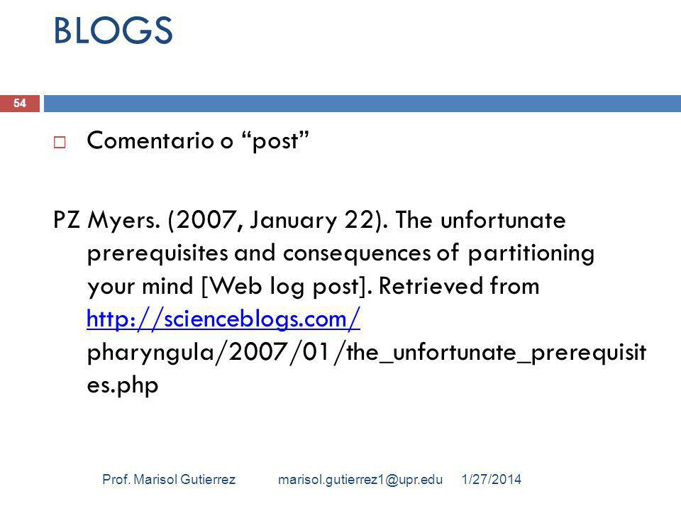 BLOGS Comentario o post