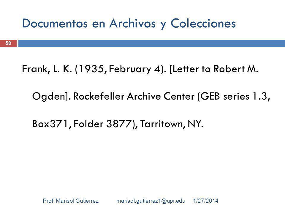 Documentos en Archivos y Colecciones