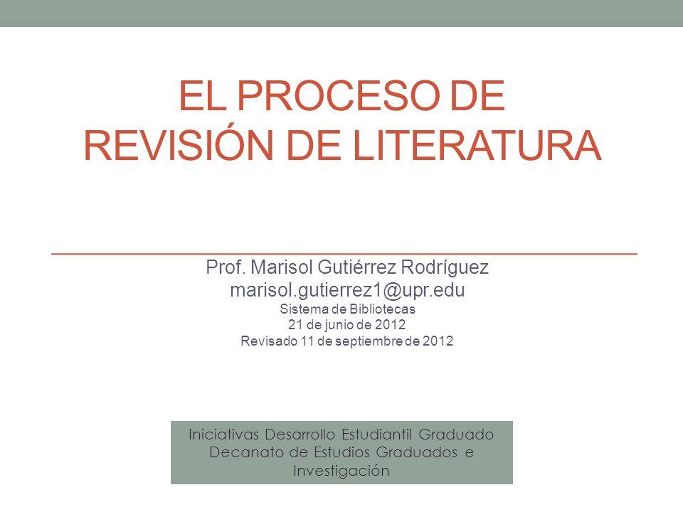 El proceso de Revisión de literatura