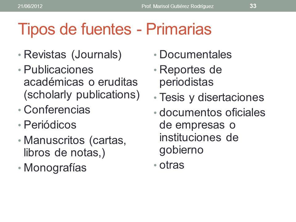 Tipos de fuentes - Primarias