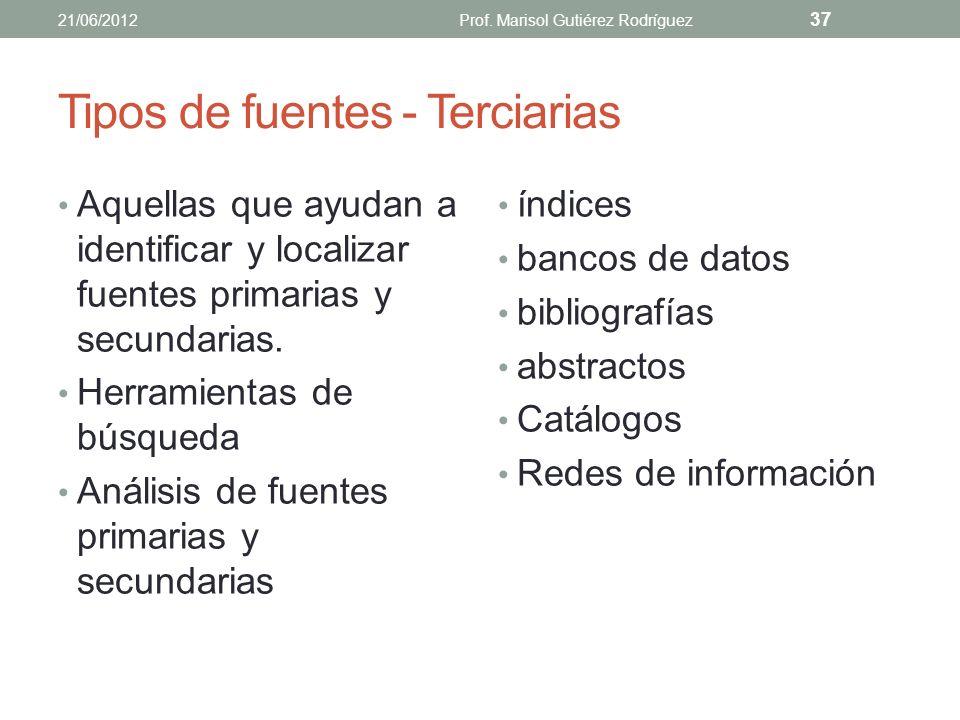 Tipos de fuentes - Terciarias