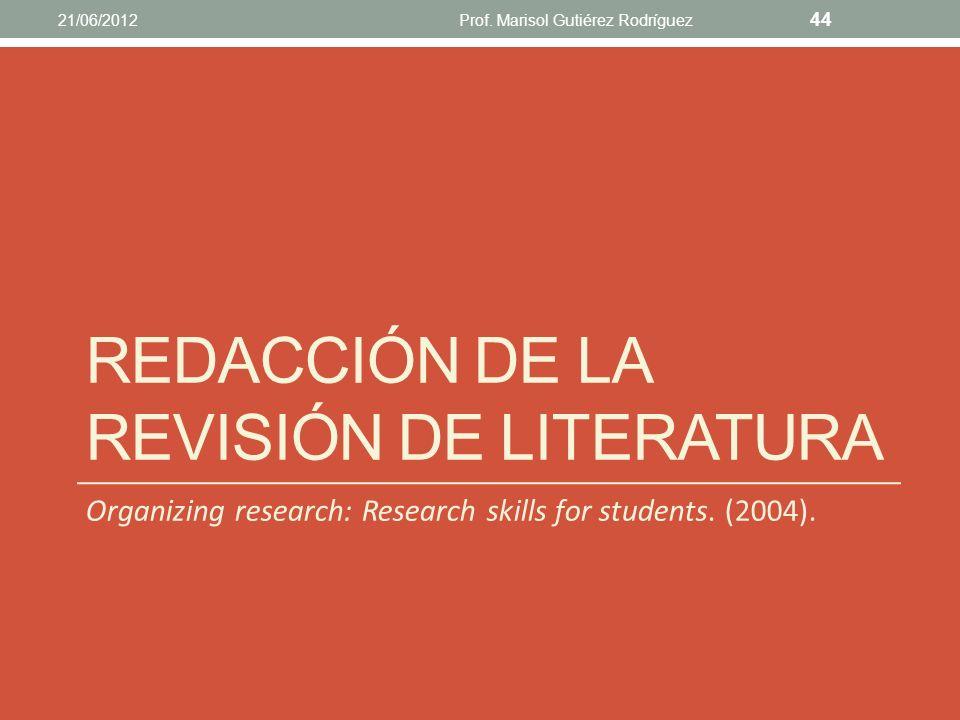 Redacción de la revisión de literatura