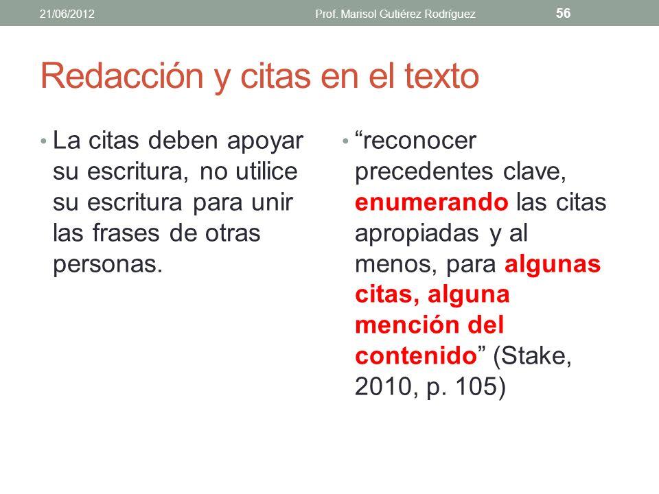 Redacción y citas en el texto