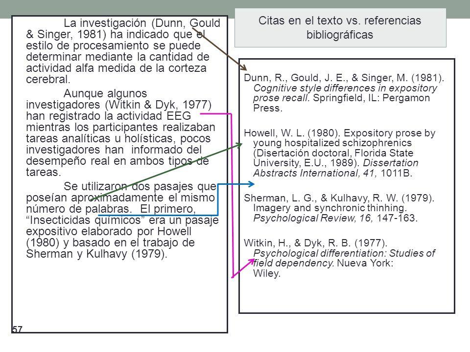 Citas en el texto vs. referencias bibliográficas