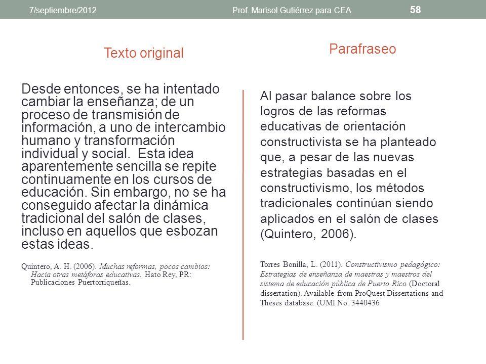 Prof. Marisol Gutiérrez para CEA