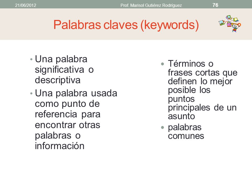 Palabras claves (keywords)