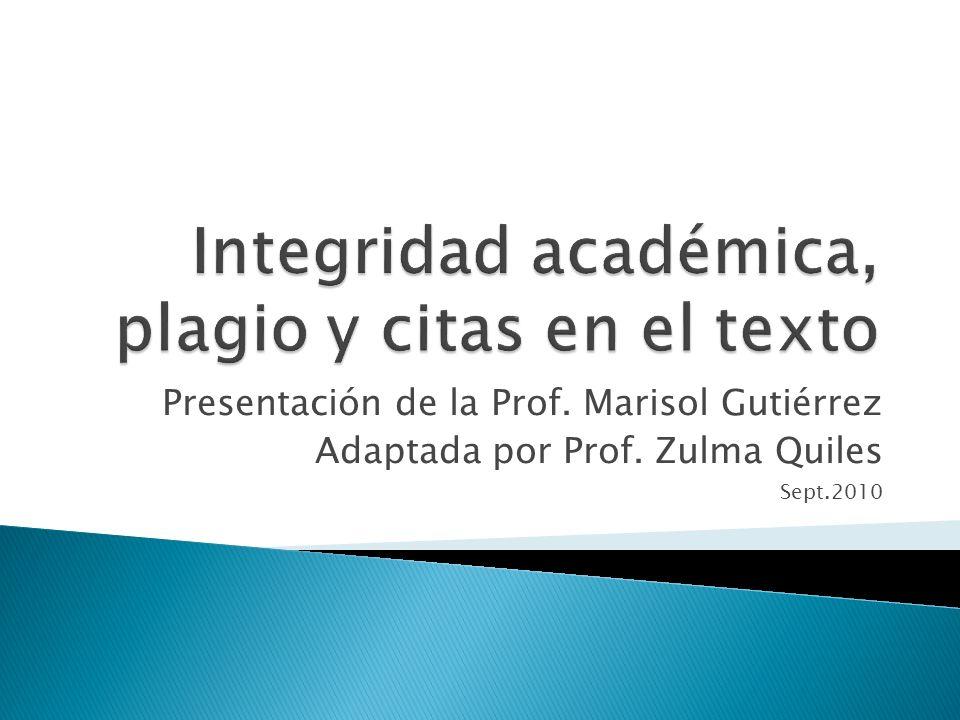 Integridad académica, plagio y citas en el texto