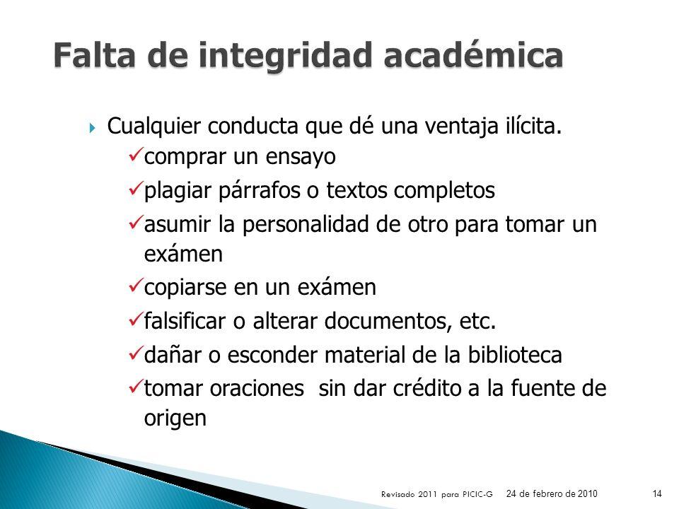 Falta de integridad académica